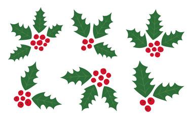 Set of Holly Berry Elements. Symbol of Christmas. Ilex Aquifolium. Christmas berries. Red Berries