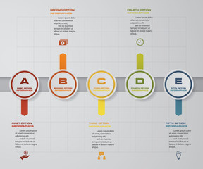 Abstract 5 steps infographics elements/timeline.Vector illustration.
