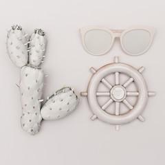 Marine set. Cactus, glasses, helm. White paint. Minimal