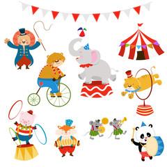 Cute Circus Animal Characters