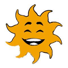 laughing sun cartoon mascot character vector illustration