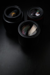 Multiple camera lenses close up