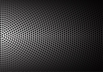 Abstract metal circle mesh pattern in black shadow background texture vector illustration.