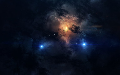 Science fiction space wallpaper, awesome nebula somewhere in dark deep space. Elements of this image furnished by NASA