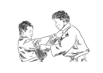 Sketch of Judo in vector.