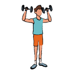 sport man weight lift fitness active vector illustration