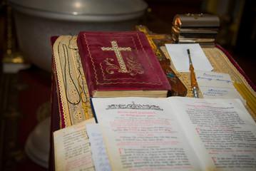 The procedure of christening in a Christian church. Church inside. christian priest