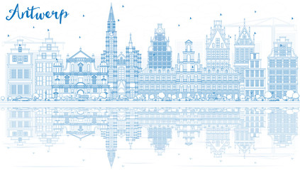 Zelfklevend Fotobehang Antwerpen Outline Antwerp Skyline with Blue Buildings and Reflections.
