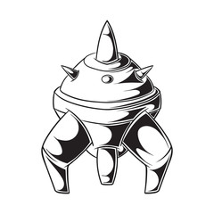 Cartoon rocket space ship. Simple retro spaceship icon on a white background. coloring book