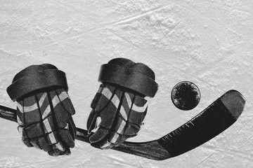 Hockey accessories on ice
