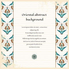 Vector card. Oriental floral border on vintage background. Shabby surface. Place for your text. Perfect for greetings, invitations or announcements.