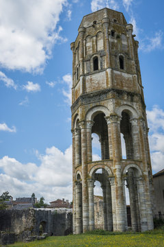 Tower and Wall of Abbey in Charroux