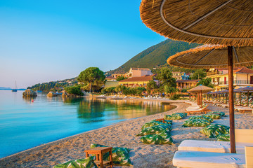 Beautiful view of Nikiana beach illuminated by sunrise in Lefkada island, Greece