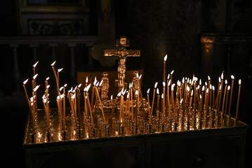 Candles in Orthodox church, praying candles.