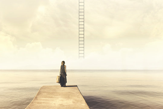 Indecisive woman does not know if climb up a staircase from the sky to a disenchanted destination