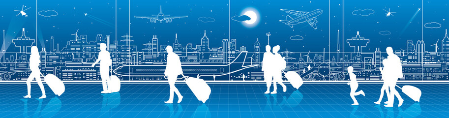 Fototapete - Airport terminal, aircraft on runway, airplane takeoff, aviation scene, people expect flight, transportation infrastructure on background, vector design art