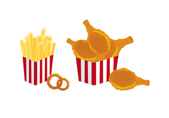 Fried food vector. A bucket of fried chicken pieces. French fries vector