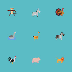Flat Icons Chimpanzee, Wildcat, Rooster And Other Vector Elements. Set Of Animal Flat Icons Symbols Also Includes Turkey, Chimpanzee, Monkey Objects.