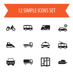 Set Of 12 Editable Transport Icons. Includes Symbols Such As Tractor, Yacht, City Drive And More. Can Be Used For Web, Mobile, UI And Infographic Design.