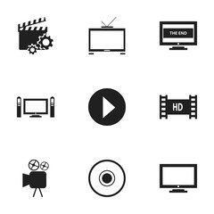 Set Of 9 Editable Cinema Icons. Includes Symbols Such As Compact Disk, Hd Television, Home Cinema And More. Can Be Used For Web, Mobile, UI And Infographic Design.