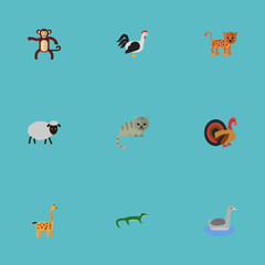 Flat Icons Rooster, Mutton, Camelopard And Other Vector Elements. Set Of Zoo Flat Icons Symbols Also Includes Cock, Gecko, Reptilian Objects.