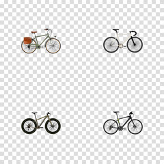 Realistic Road Velocity, Hybrid Velocipede, Bmx And Other Vector Elements. Set Of Bike Realistic Symbols Also Includes Extreme, Bike, Track Objects.