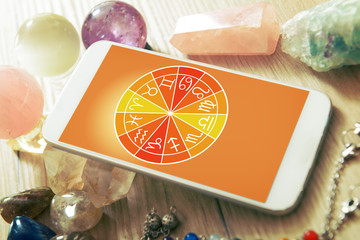 Modern astrology concept with mobile