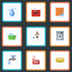 Flat Icons Faucet, Laundromat, Aqua And Other Vector Elements. Set Of Cleaning Flat Icons Symbols Also Includes Housemaid, Foam, Cleaning Objects.