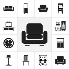 Set Of 12 Editable Furnishings Icons. Includes Symbols Such As Recliner, Tv, Davenport And More. Can Be Used For Web, Mobile, UI And Infographic Design.