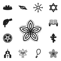 Set Of 12 Editable Dyne Icons. Includes Symbols Such As Hexagram, Indian Flower, Mullah And More. Can Be Used For Web, Mobile, UI And Infographic Design.