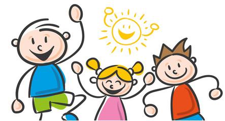 Strichfiguren Kinder bunt Freizeit