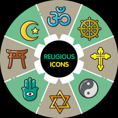Infographic_set of religious icons