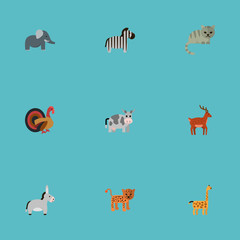 Flat Icons Moose, Camelopard, Panther And Other Vector Elements. Set Of Animal Flat Icons Symbols Also Includes Puma, Cat, Animal Objects.