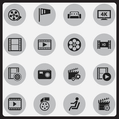 Set Of 16 Editable Movie Icons. Includes Symbols Such As Couch, Reel, Record And More. Can Be Used For Web, Mobile, UI And Infographic Design.