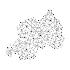 Map of Rwanda from polygonal black lines and dots of vector illustration