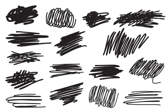 Scribble brush strokes set
