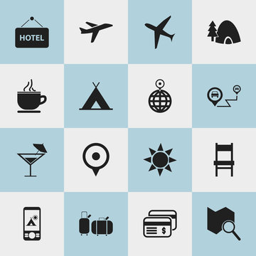 Set Of 16 Editable Trip Icons. Includes Symbols Such As Cocktail, Point, Welcome Board And More. Can Be Used For Web, Mobile, UI And Infographic Design.