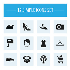 Set Of 12 Editable Business Icons. Includes Symbols Such As Footwear, Investment, Photographing And More. Can Be Used For Web, Mobile, UI And Infographic Design.