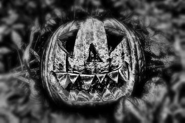 Monochrome spooky black and white Halloween pumpkin lantern
