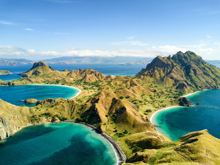 Aerial view of Pulau Padar island in between Komodo and Rinca Islands near Labuan Bajo in Indonesia.