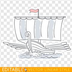 Sailing ship with oars. Dakkar. Viking boat. Editable line sketch. Stock vector illustration.
