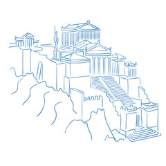 Acropolis and parthenon athens greece. Editable line sketch. Stock vector. Historical illustration.