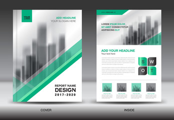 Annual report brochure flyer template, Green cover design, business advertisement, magazine ads, catalog vector layout in A4 size