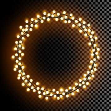 Glowing round vector lights wreath frame with transparent shine