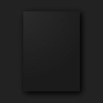 Stylish black empty blank paper poster sheet vector mockup template on black background