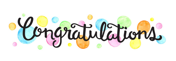 CONGRATULATIONS hand lettering on watercolour dots