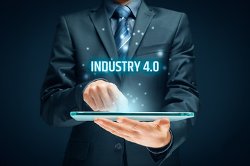 Industry 4.0 - automation, robotics and data exchange in manufacturing technologies. Smart factory concept