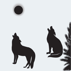 Wolves howl at the moon two silhouettes isolated on white background art abstract creative modern vector