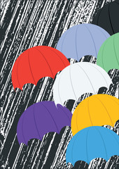 Umbrellas multicolored on abstract black and white background with original stripes immitating rain art creativity modern vector illustration