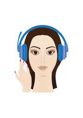 Female face closeup in headphones - girl listening to music, art creative modern vector illustration.